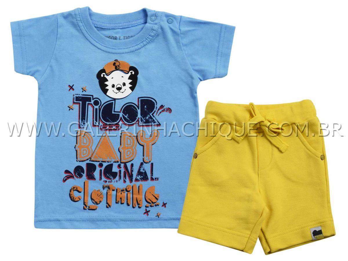 Conjunto Tigor T.Tigre Camiseta Azul Estampada e Bermuda