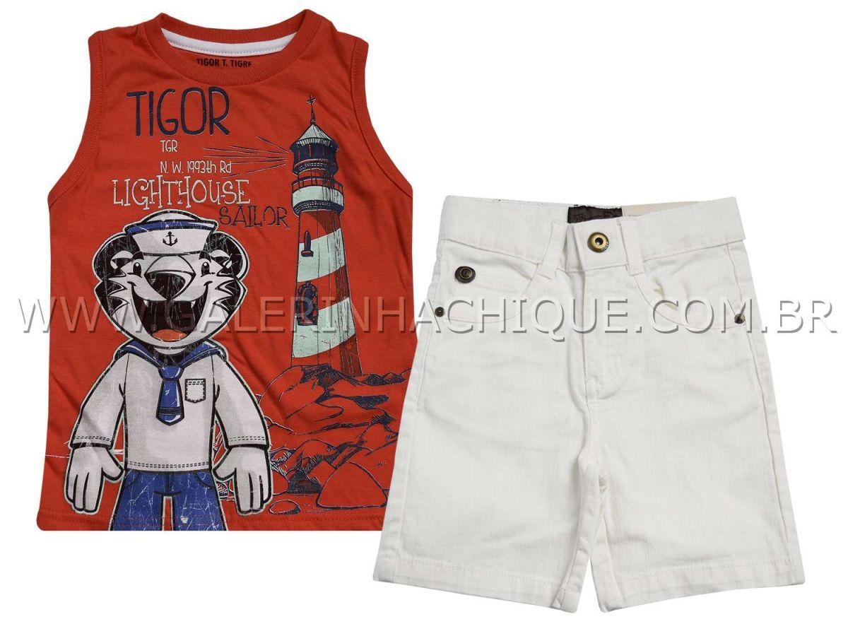 Conjunto Tigor T.Tigre Regata Vermelha e Bermuda Branca
