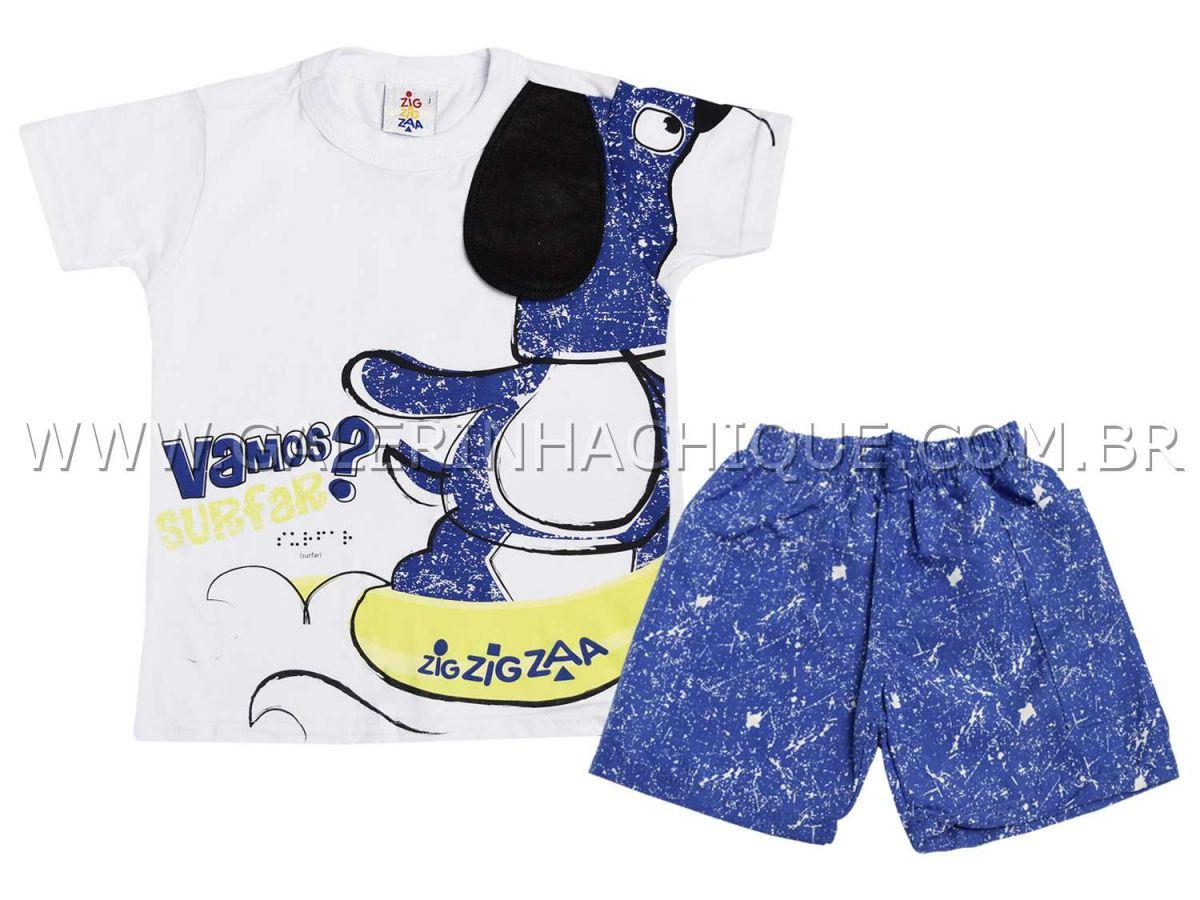 Conjunto Zig Zig Zaa Camiseta e Bermuda Azul