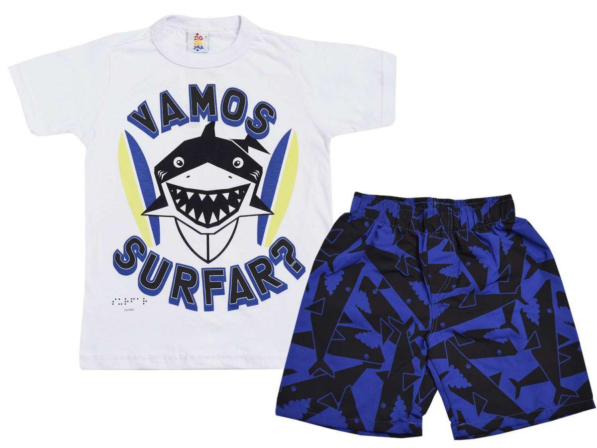 Conjunto Zig Zig Zaa Camiseta Tubarão e Bermuda