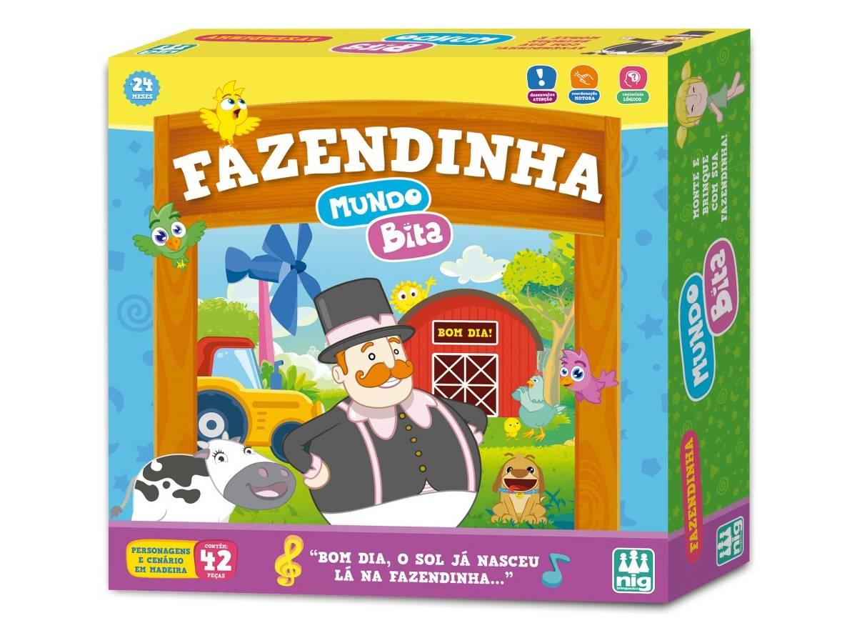 Fazendinha De Brinquedo Mundo Bita em Madeira 42 Peças Nig