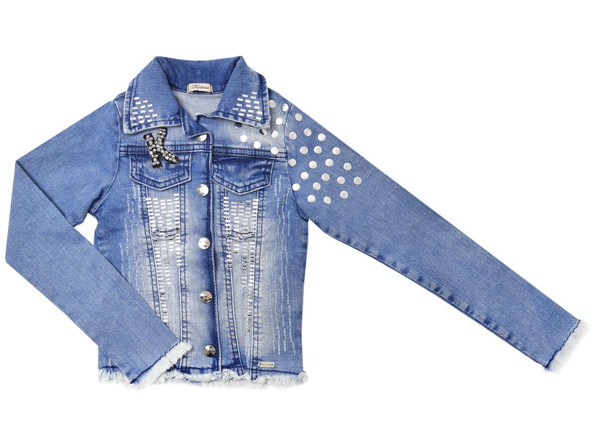 Jaqueta Jeans com Pedraria Kukixo K2651