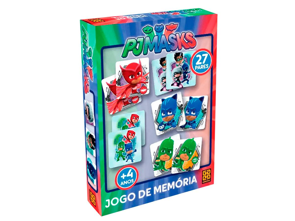 Jogo Da Memória Pj Masks 27 pares de cartelas Original Grow