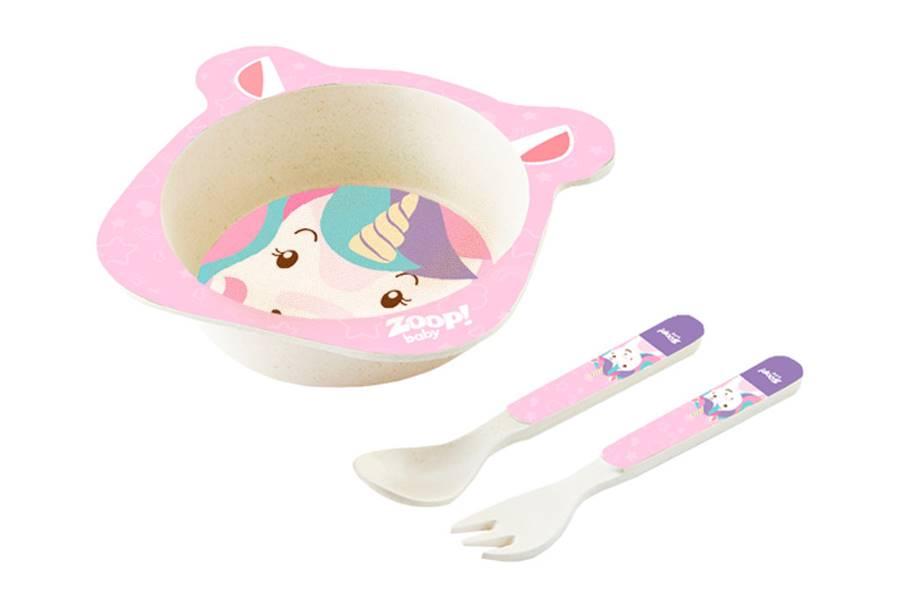 Kit Alimentação Papinha Baby 3 Peças Unicórnio P Zoop Toys