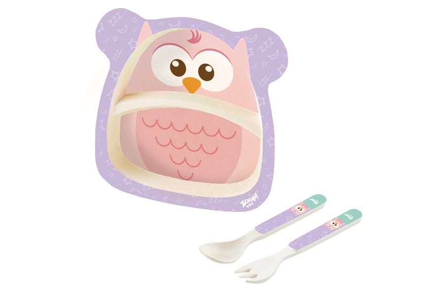 Kit Alimentação Papinha Baby Eco 3 Peças G Coruja Zoop Toys