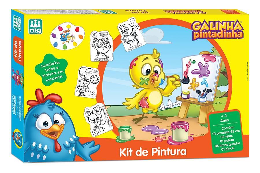 Kit de Pintura Cavalete Galinha Pintadinha Nig Brinquedos