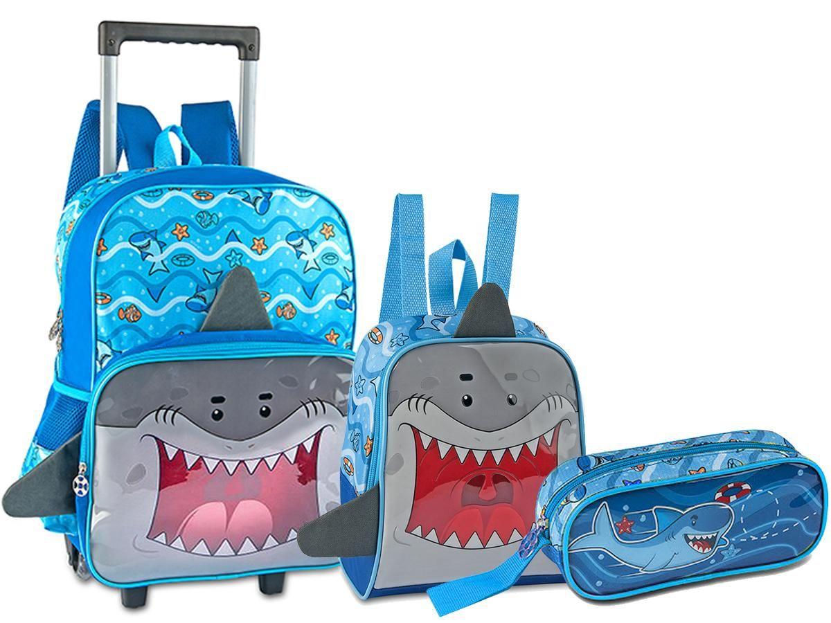 Kit Escolar Mochila Rodinha + Lancheira + Estojo Tubarão Clio Style Azul TB2065KT