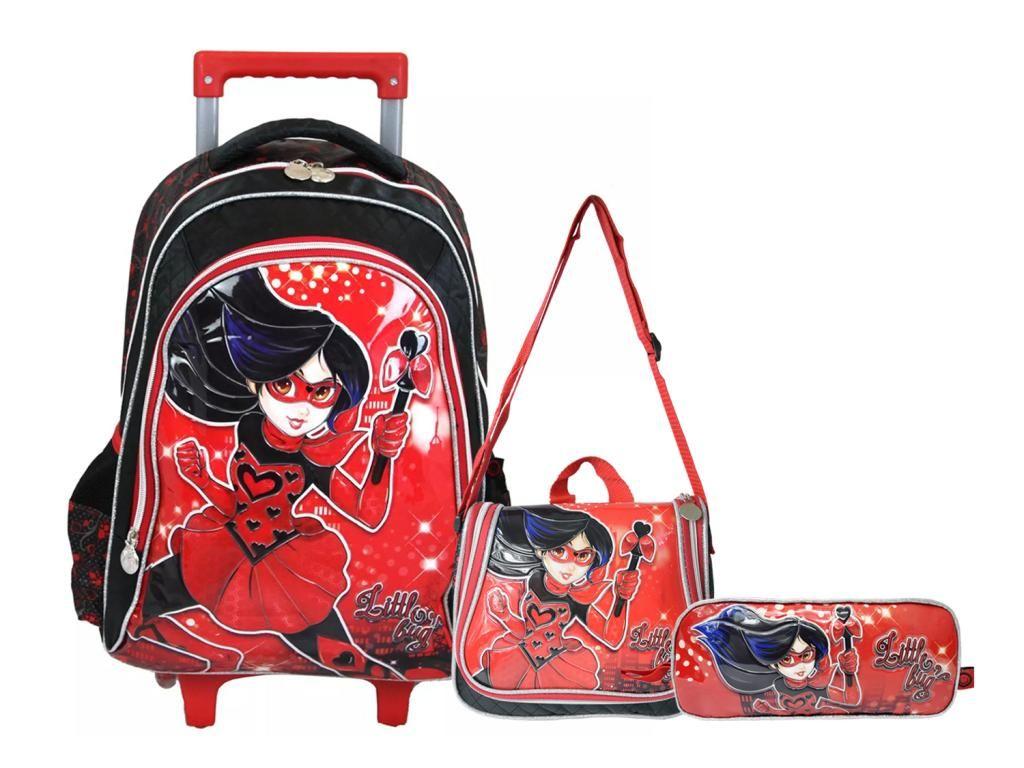 Kit Escolar Mochila Rodinhas Lancheira e Estojo Little Bug Preta Lady Clio Style