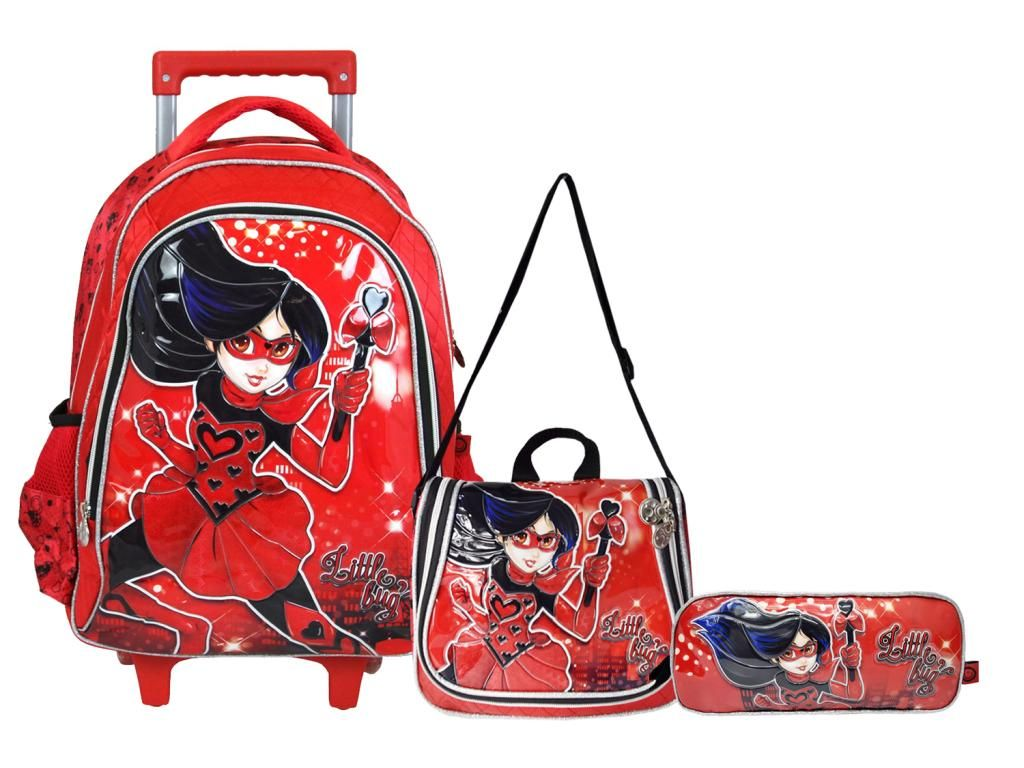 Kit Escolar Mochila Rodinhas Lancheira e Estojo Little Bug Vermelha Lady Clio Style