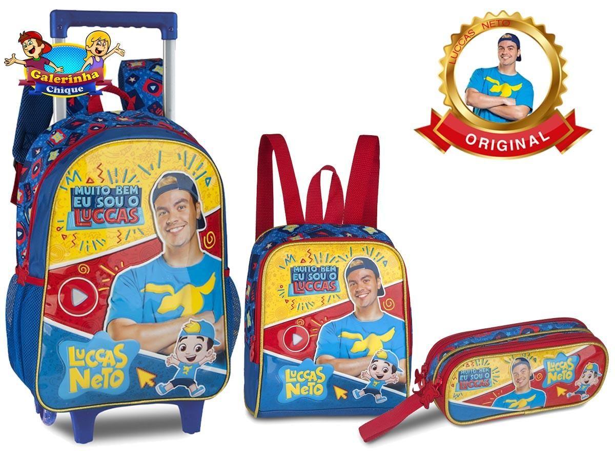Kit Mochila Escolar Rodinha Luccas Neto + Lancheira + Estojo Lançamento LN9007KA