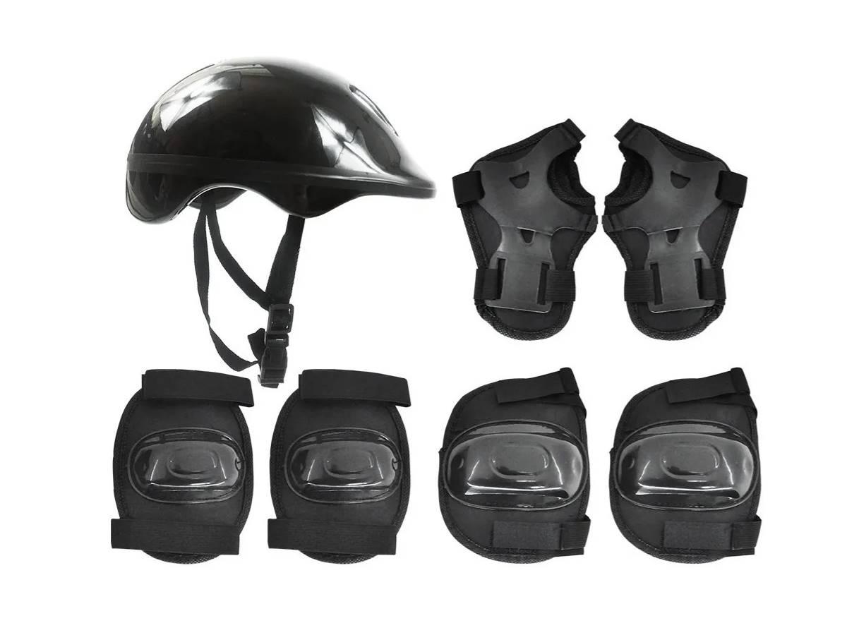 Kit Proteção Infantil Skate, Patinete E Patins Preto Radical Plus - DMR5486