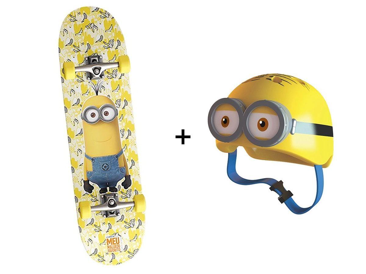 Kit Skateboard ABEC 5 + Capacete Minions 48-50 cm 18196A