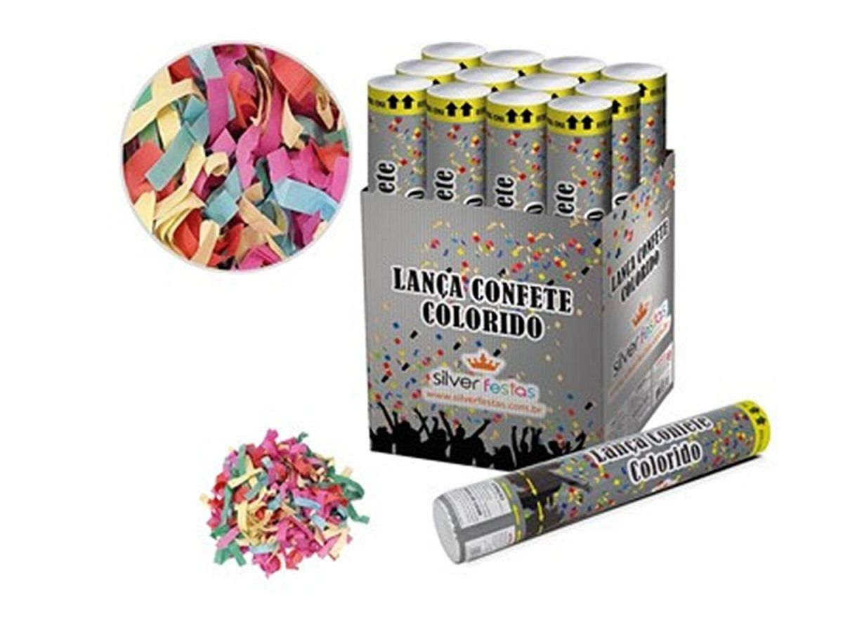 Lança Confete Colorido Kit com 12 Festas Carnaval  30CM LCN001B