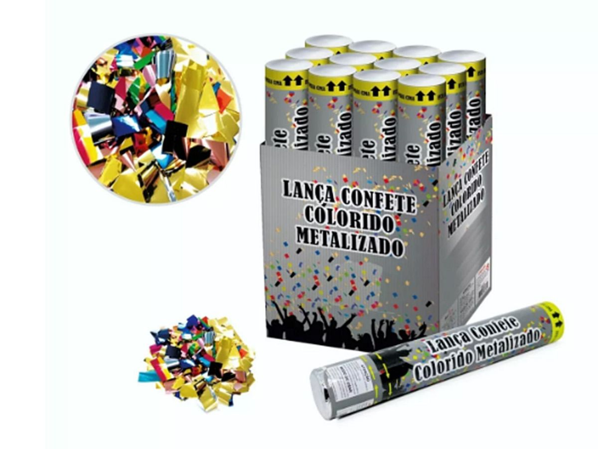 Lança Confete Colorido Kit com 12 Metalizado Festas Carnaval 30CM LCN002B