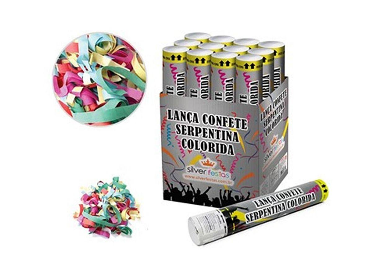 Lança Confete Serpentina Colorida Kit com 12 Festas e Carnavais 30CM LCN003B
