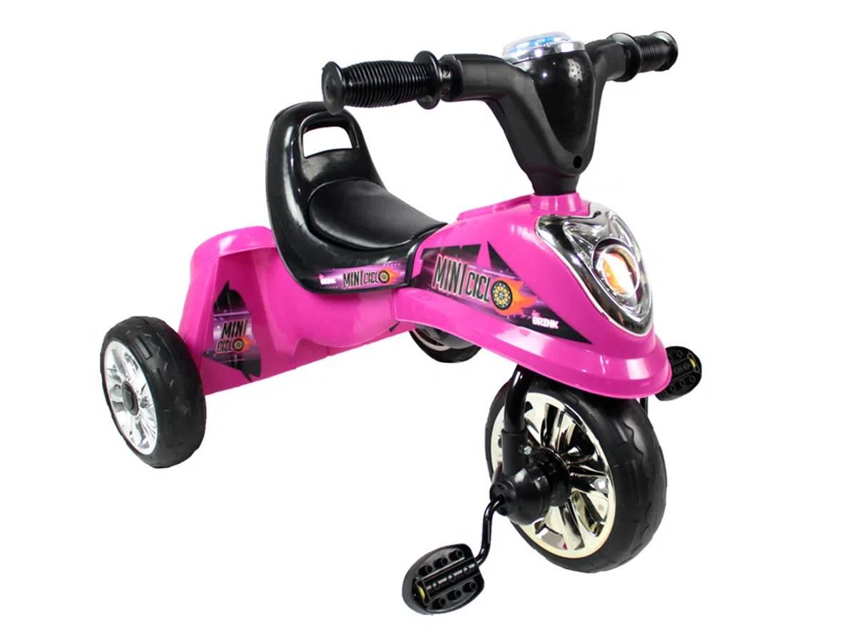 Miniciclo / Triciclo Infantil Pink com Luz Led e Música Belfix