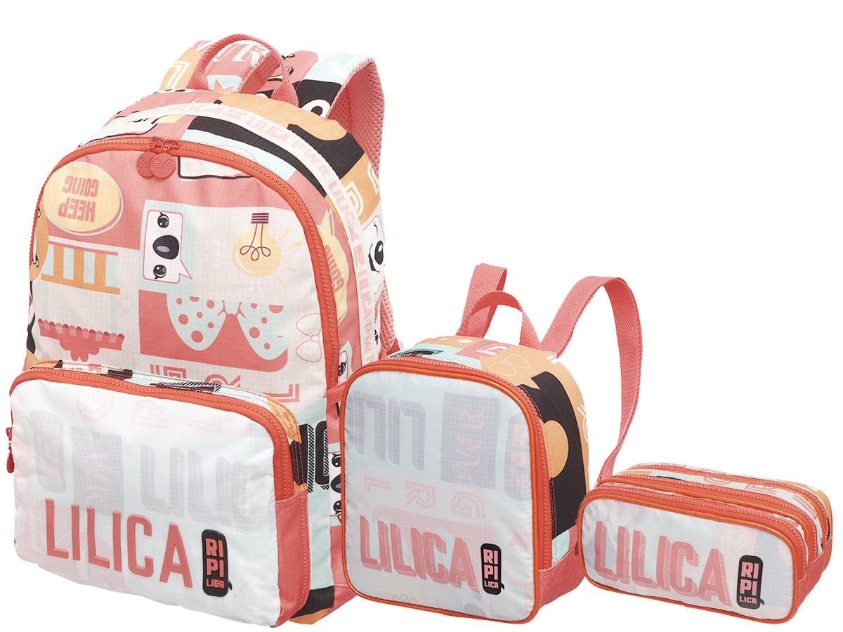 Mochila Costas Lilica Ripilica Kit + Lanch + Estojo Feel 2021