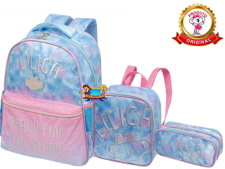 Mochila Escolar Lilica Ripilica Costas Kit + Estojo + Lancheira SPACE 971H04A