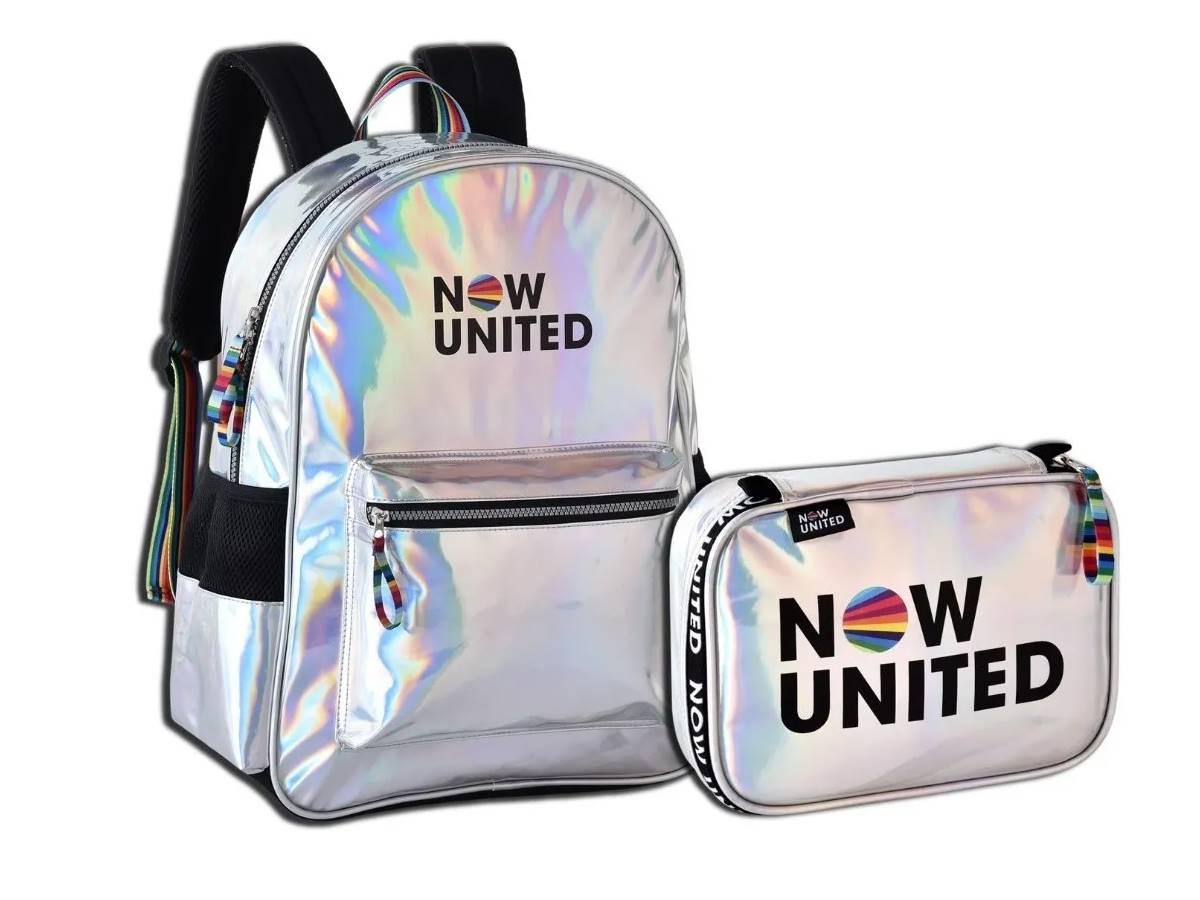 Mochila Now United Holográfica Original Escolar Kit + Estojo
