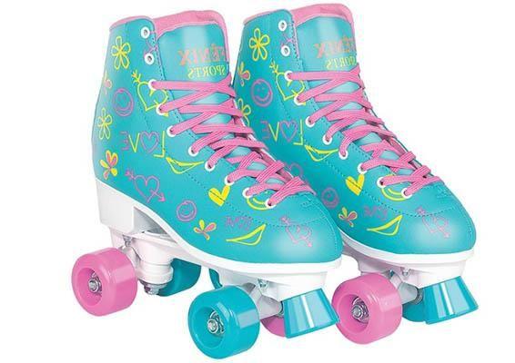 Patins Quad Roller Skate Ajustável Tradicional Original Azul RL07