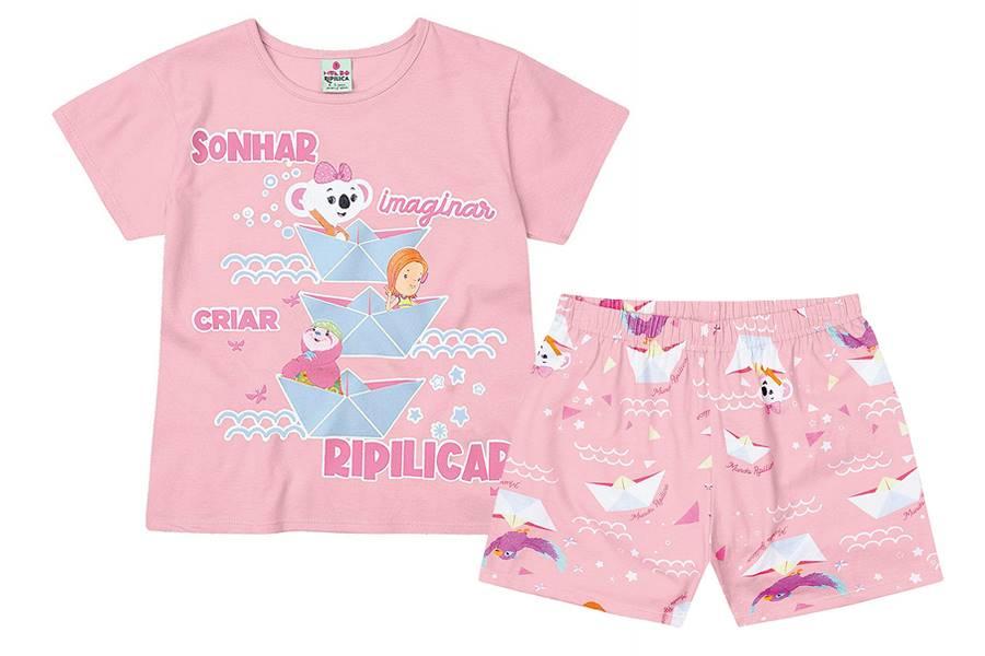 Pijama Blusinha + Shorts Brilha Escuro Lilica Ripilica