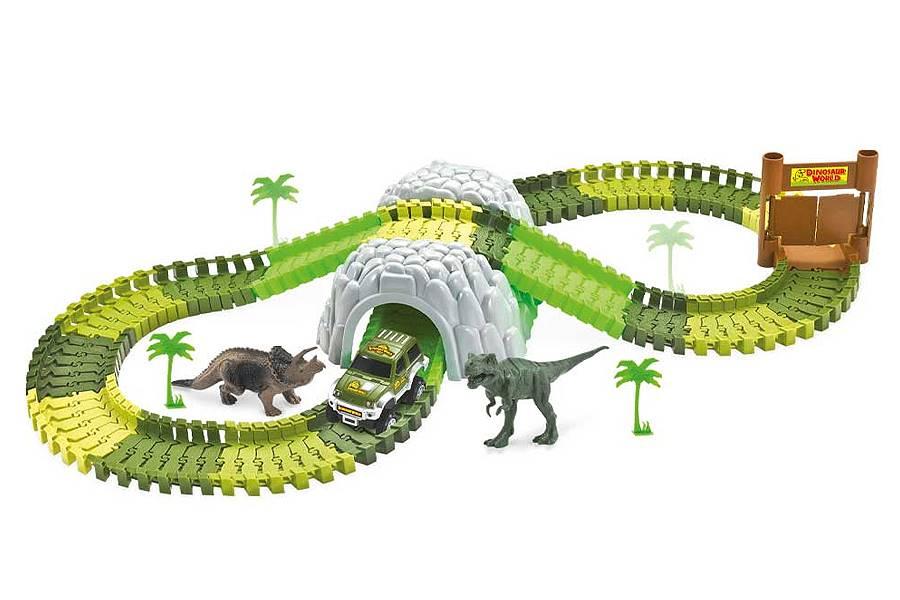 Pista Com 2 Dinossauros Túnel e Acessórios 109 Peças DMT6130