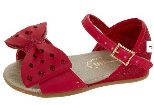 Sandalia Vermelha Com Laco Pampili