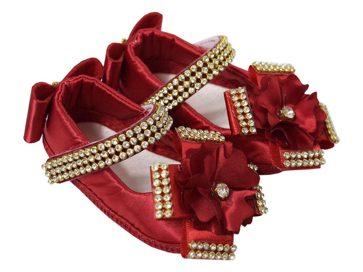 Sapatinho Vermelho Strass Velcro Doce Fruto