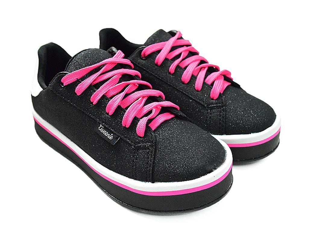 Tenis Feminino Tweenie #Mix Preto de listras Pink