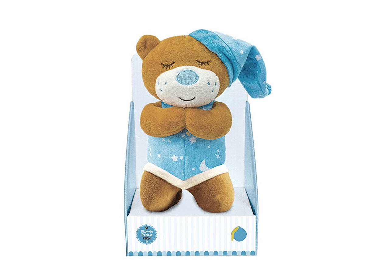 Urso De Pelúcia Que Ora Reza o Pai Nosso 20cm Azul Unik