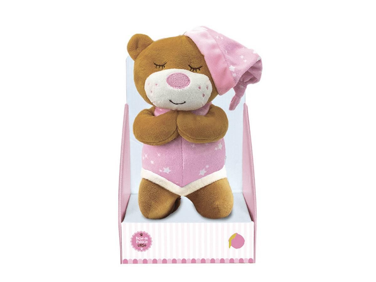 Urso De Pelúcia Que Ora Reza o Pai Nosso 20cm Rosa Unik