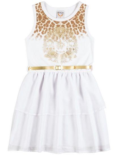 Vestido Branco Com Dourado Boca Grande