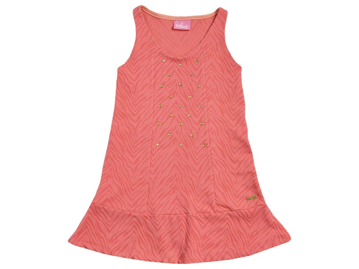 Vestido Coral com Pedrinhas Le Petit
