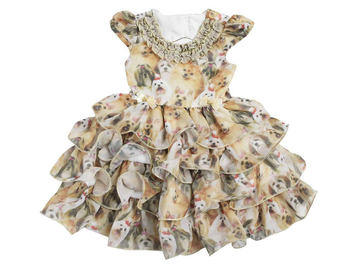 Vestido de Festa Estampa Cachorrinhos Mini Miss