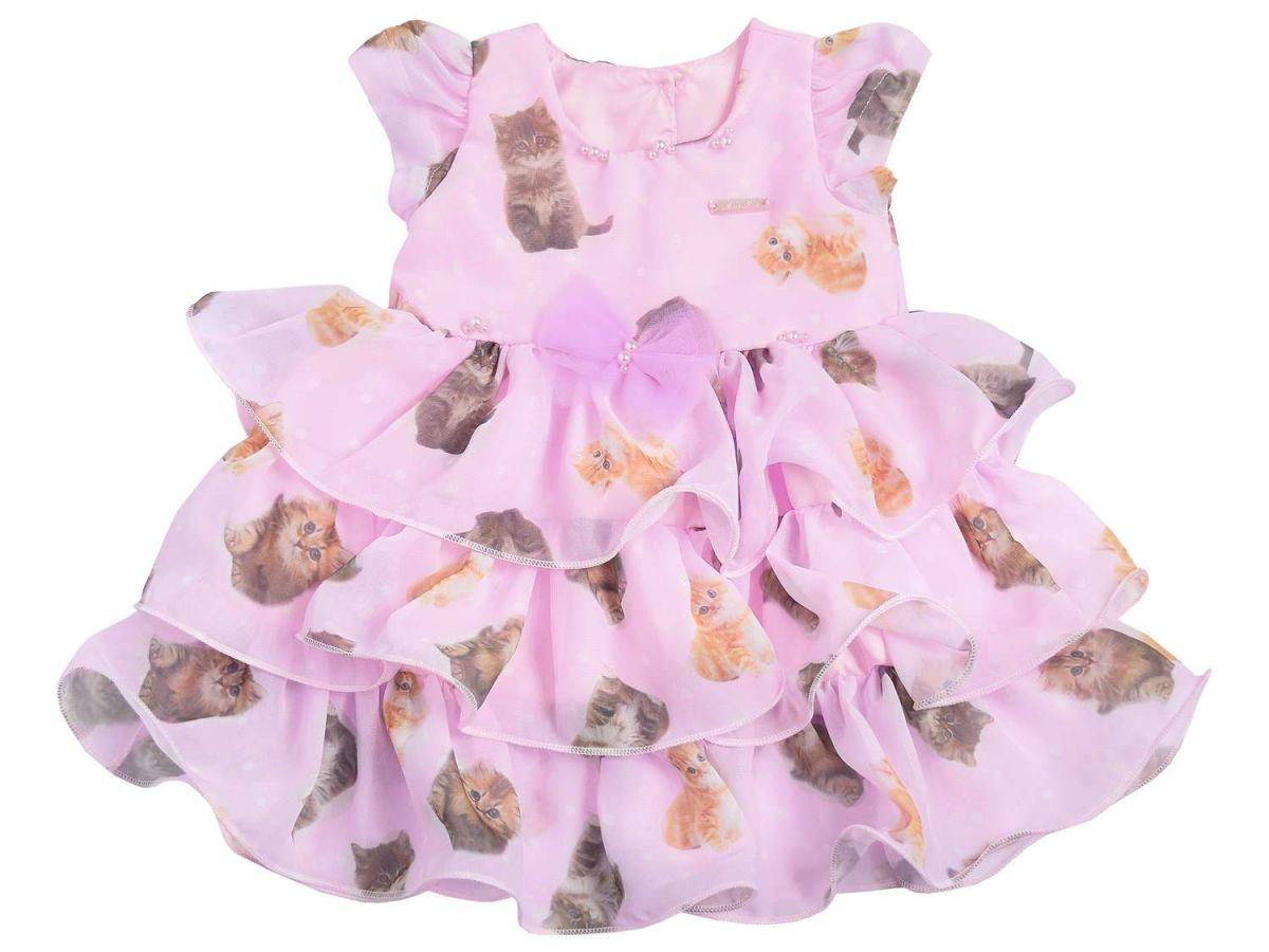 Vestido de Festa Estampa Gatinhos Mini Miss