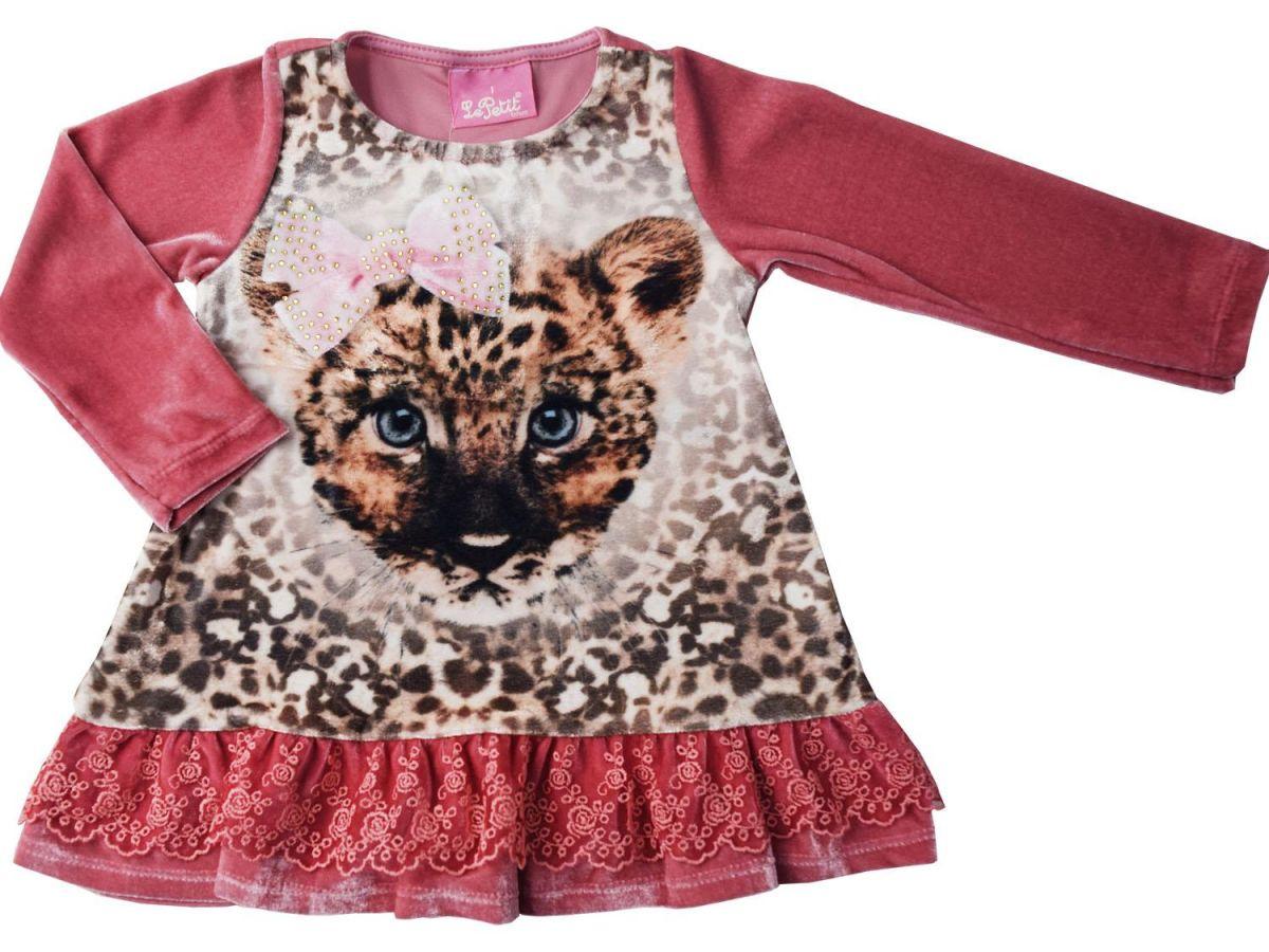 Vestido Le Petit Veludo Tigre 03042