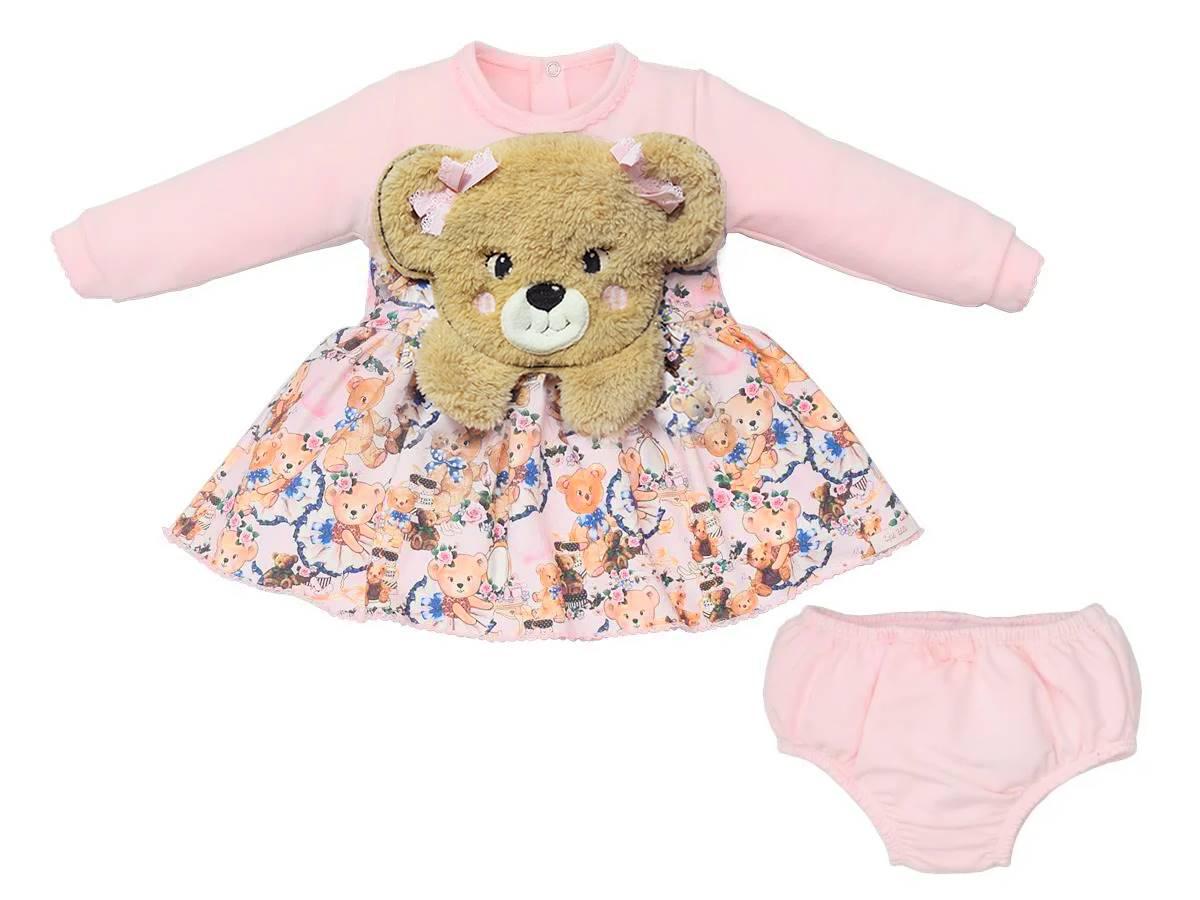Vestido Moletinho Ursinhos com Pelúcia de Urso Upi Uli