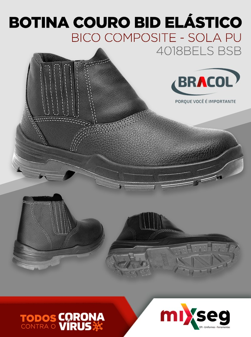 Botina Couro Bid Elástico Bico Composite Sola/PU - BRACOL 4018BELS BSB