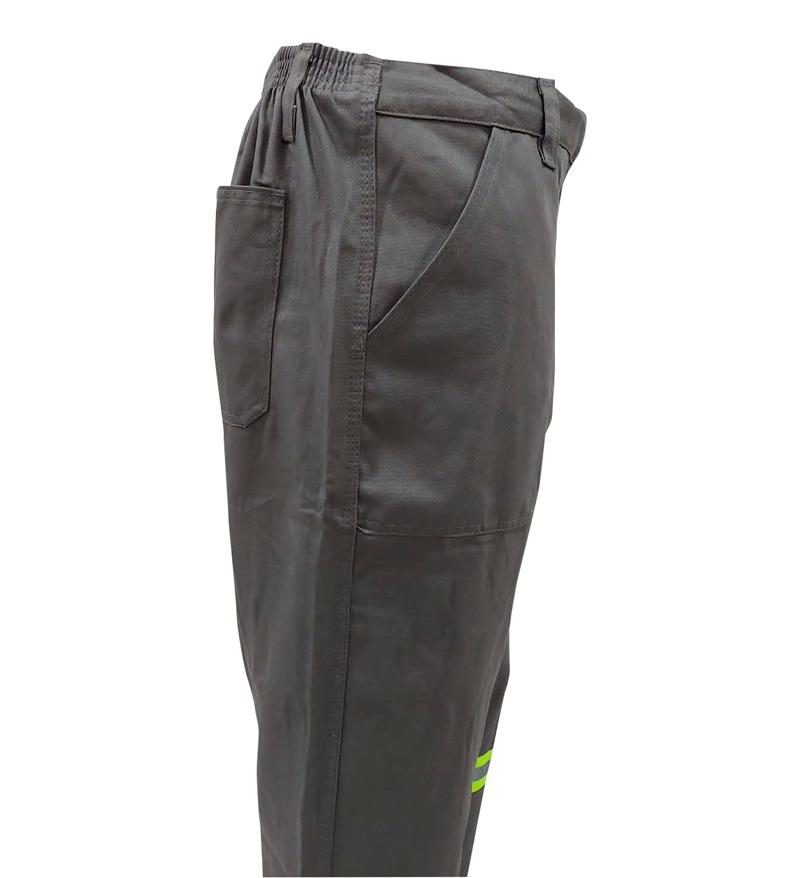 Calça de Brim 1/2 Elástico Cinza Com Refletivo 5cm