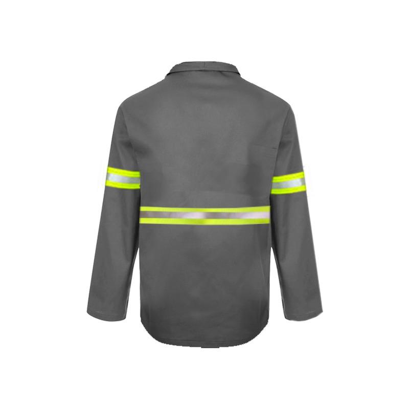 Camisa Brim Manga Longa Botão com Refletivo