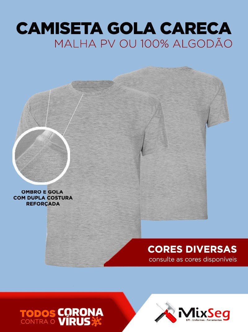 Camiseta Gola Careca Manga Curta