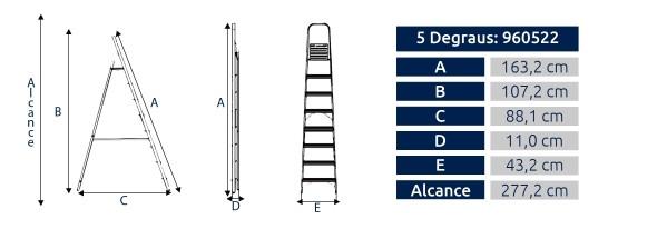 Escada Alumínio 5 Degraus Alumasa