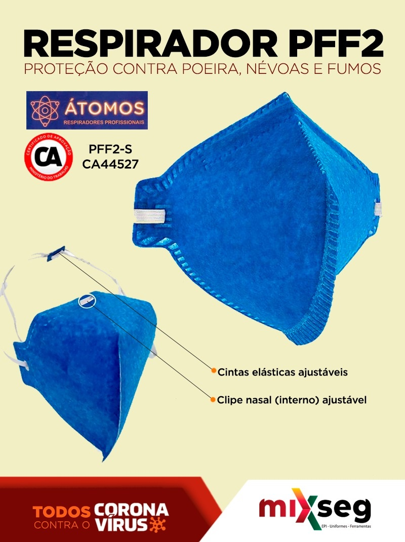 Mascara PFF2 Sem Válvula ÁTOMOS - (Pacote C/10 unidades)