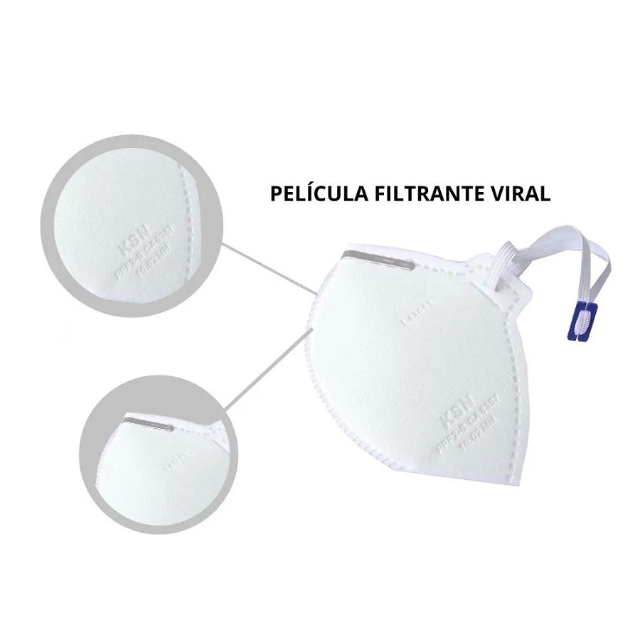 Mascara PFF2 Sem Válvula HOSPITALAR - KSN - Pacote com 10 unidades