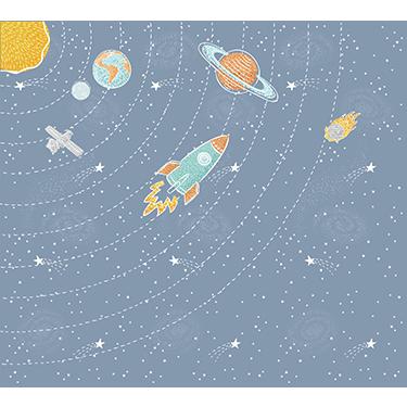 Espacial com fundo Azul