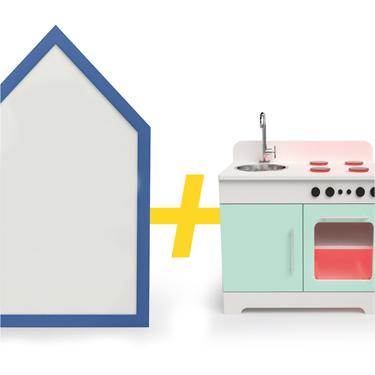 Lousa Casinha Magnética + Mini Cozinha com Led