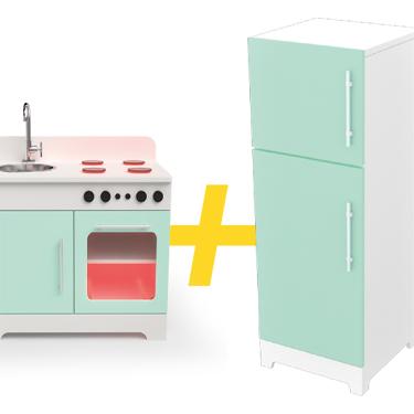 Mini Cozinha com Led + Mini Geladeira