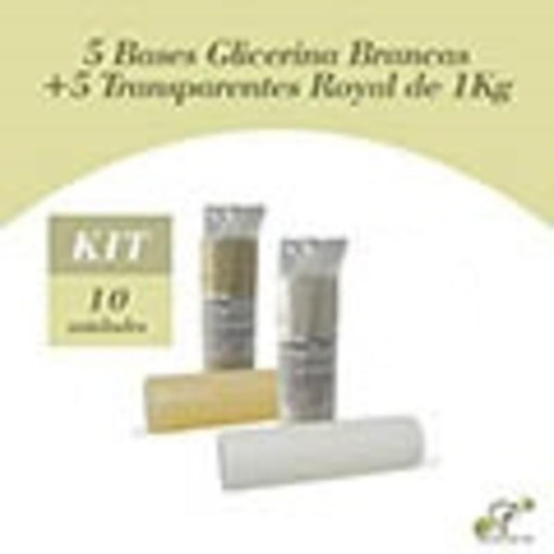 5+5 Bases Glicerina Brancas e Transparentes Royal de 1 Kg