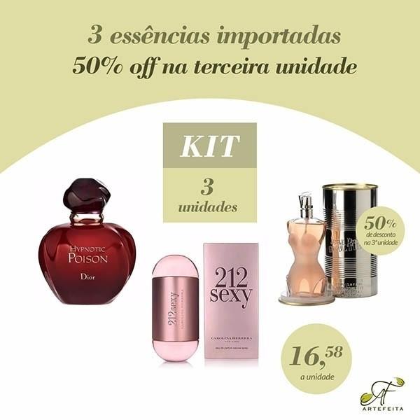 Kit 3 Essências Importadas 50% na Terceira