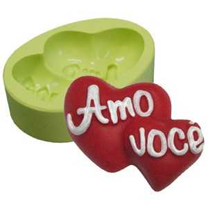 Molde de Silicone Coração Amo Você